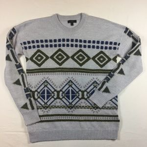 J. Crew abstract Fair Isle crew neck sweater small